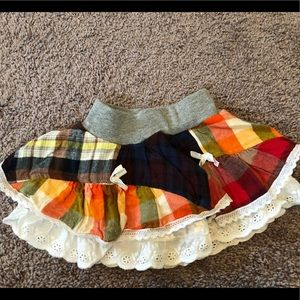 Sweet country chic layered flannel skirt size 80